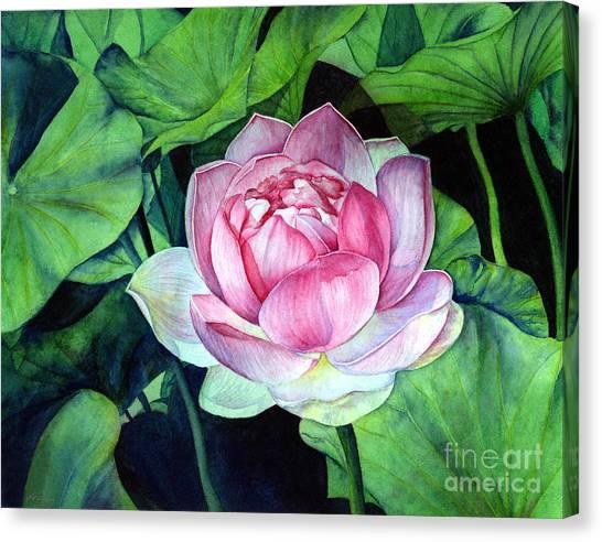 Japanese Garden Canvas Print - Water Lily by Hailey E Herrera