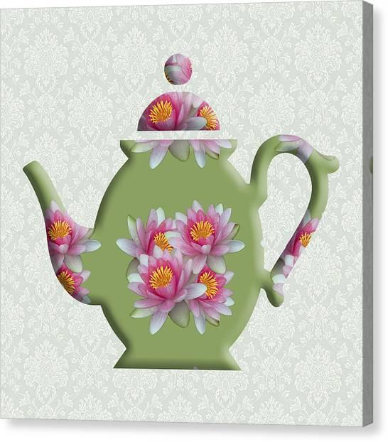 Water Lily Pattern Teapot Canvas Print