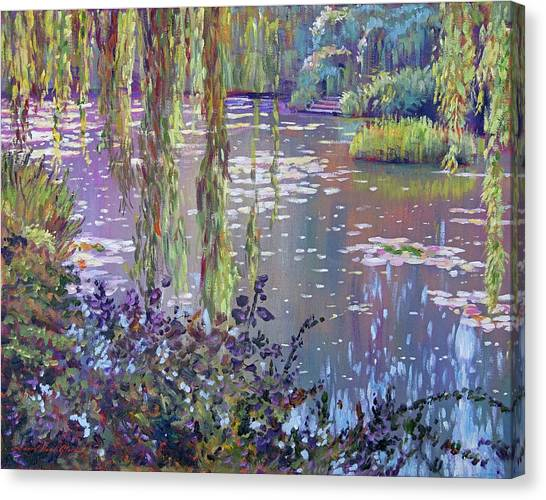 Weeping Willows Canvas Print - Water Lily Pond Giverny by David Lloyd Glover