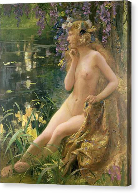 Wreath Canvas Print - Water Nymph by Gaston Bussiere
