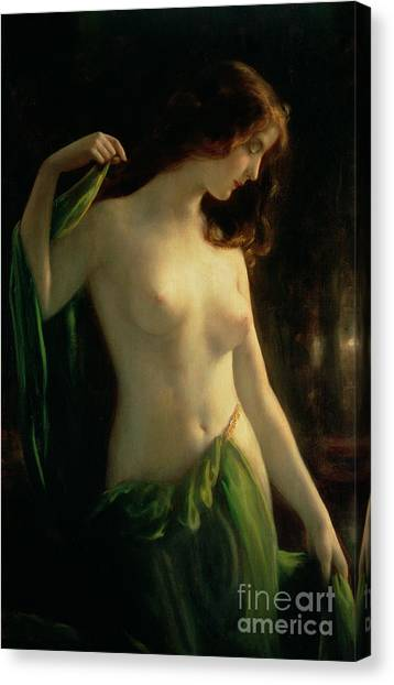 Woman Canvas Print - Water Nymph by Otto Theodor Gustav Lingner