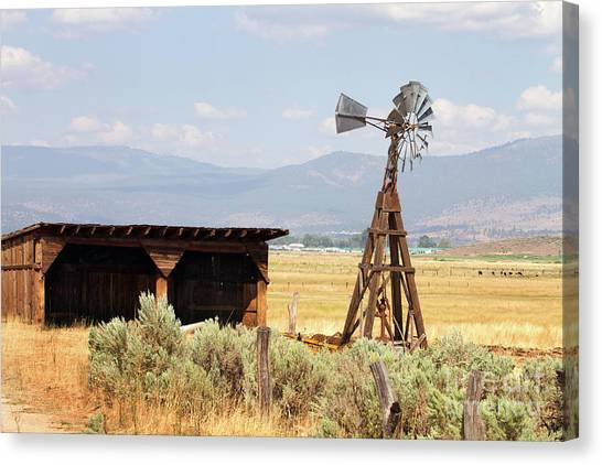 Water Pumping Windmill Canvas Print