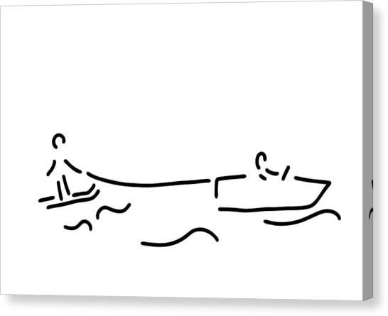 Water Skis Canvas Print - Water-ski Boat Waterski by Lineamentum