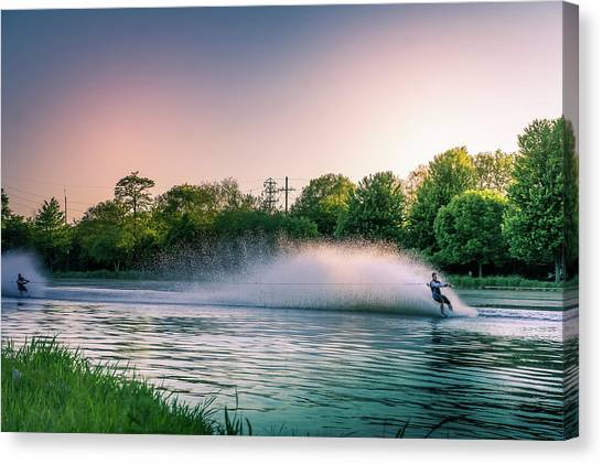 Water Skis Canvas Print - Water Skier At Sunset by Art Spectrum