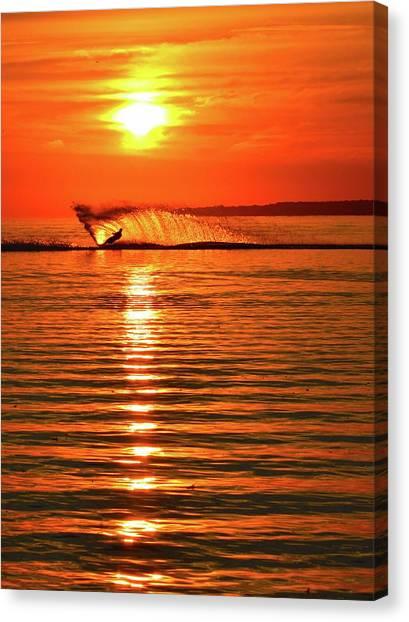 Water Skiing At Sunrise  Canvas Print