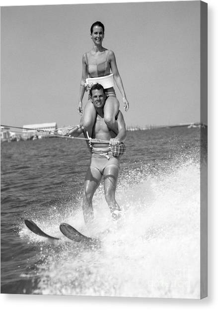 Water Skis Canvas Print - Water Skiing Tricks by H. Armstrong Roberts/ClassicStock