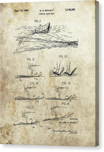 Water Skis Canvas Print - Water Skis Patent by Dan Sproul