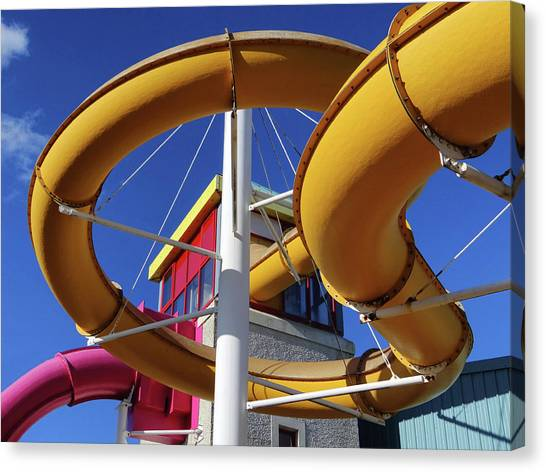 Water Slides At Bundoran Waterworld - Abstract, Bright Primary Colours Against A Deep Blue Sky Canvas Print