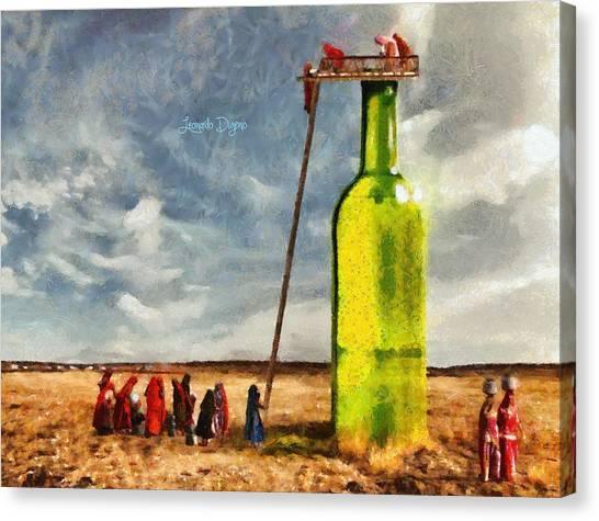 Glass Bottle Canvas Print - Water Source  - Camille Style -  - Da by Leonardo Digenio