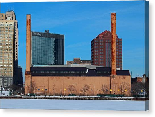 Water Street Steam Plant In Winter Canvas Print