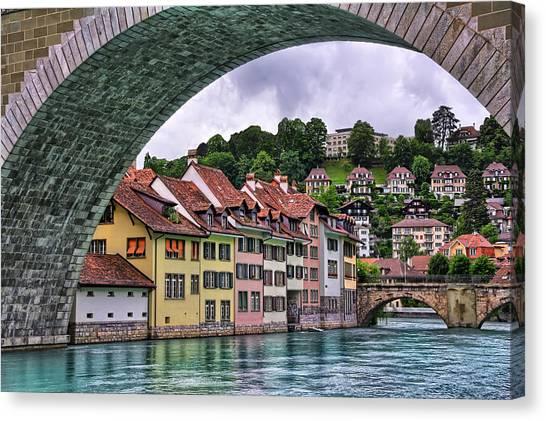 Water Under The Bridge In Bern Switzerland Canvas Print