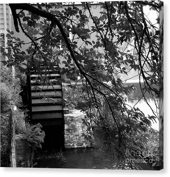 Water Wheel - Black And White Canvas Print by Jacqueline M Lewis