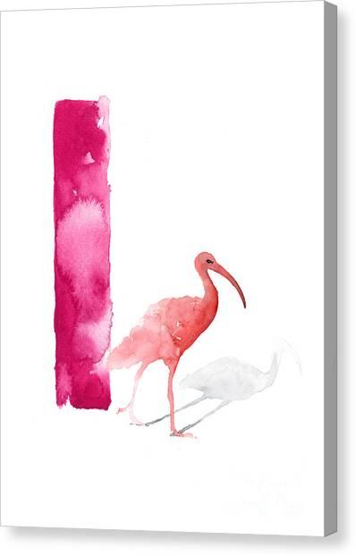 Ibis Canvas Print - Watercolor Alphabet Pink Ibis Poster by Joanna Szmerdt
