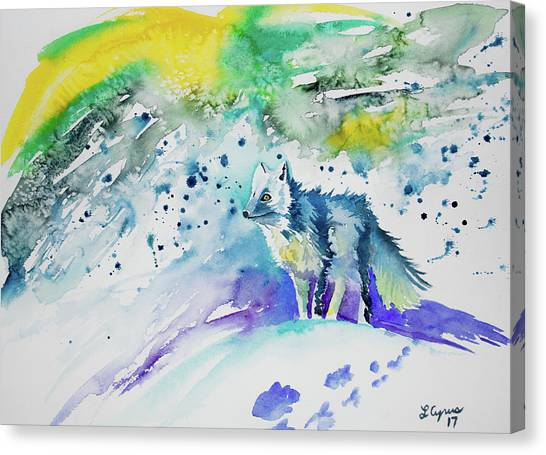 Watercolor - Arctic Fox Canvas Print