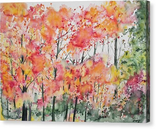 Watercolor - Autumn Forest Canvas Print
