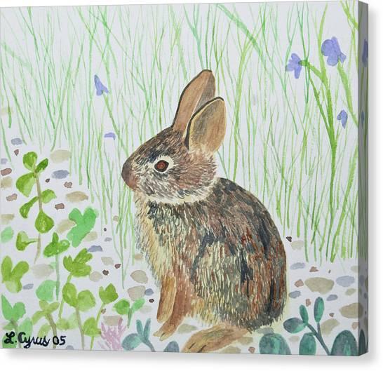 Watercolor - Baby Bunny Canvas Print