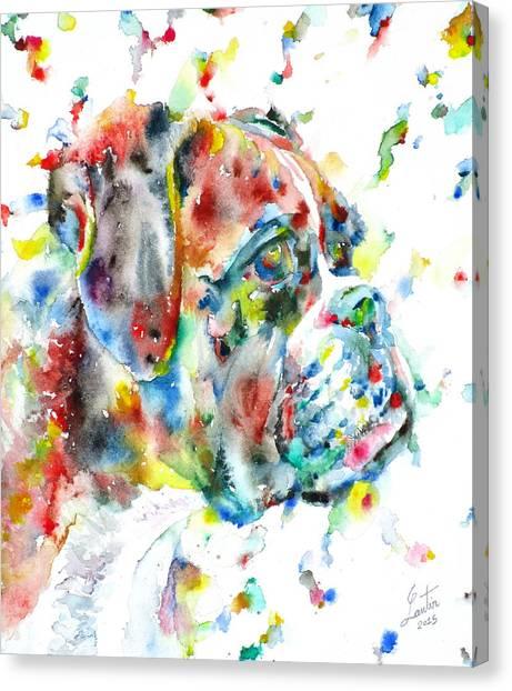 Watercolor Boxer Canvas Print