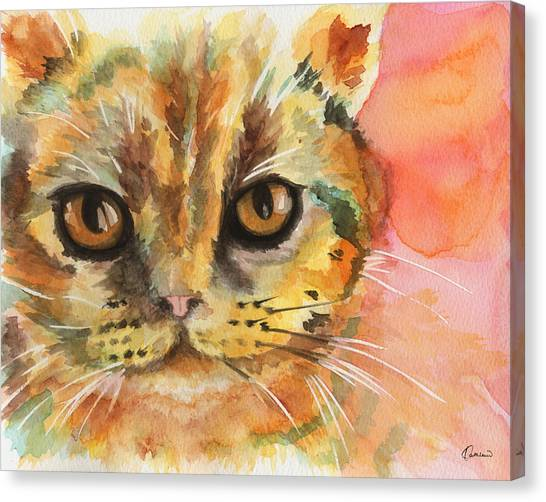 Watercolor Pet Portraits Canvas Print - Watercolor Cat 02 Army Cat  by Kathleen Wong