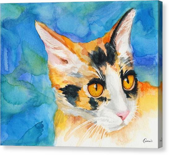 Watercolor Pet Portraits Canvas Print - Watercolor Cat 09 Calico Cat by Kathleen Wong