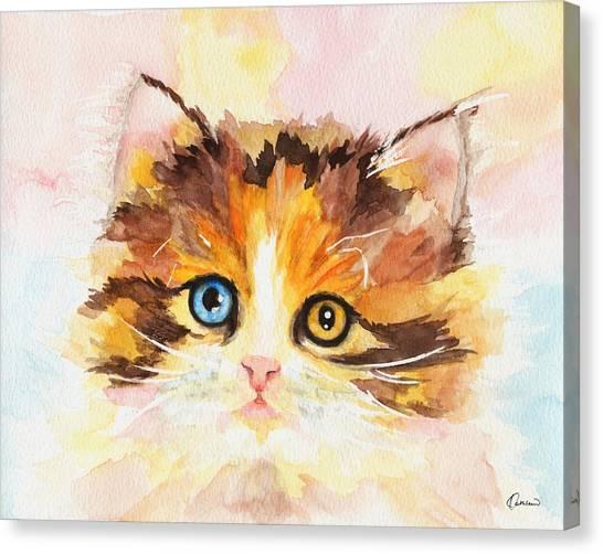 Watercolor Pet Portraits Canvas Print - Watercolor Cat 12 Cute Kitten by Kathleen Wong