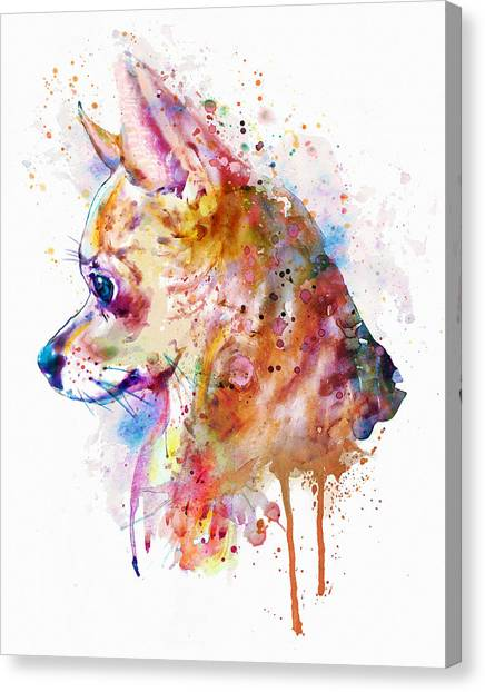 Watercolor Pet Portraits Canvas Print - Watercolor Chihuahua  by Marian Voicu