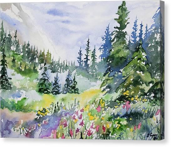 Watercolor - Colorado Summer Scene Canvas Print