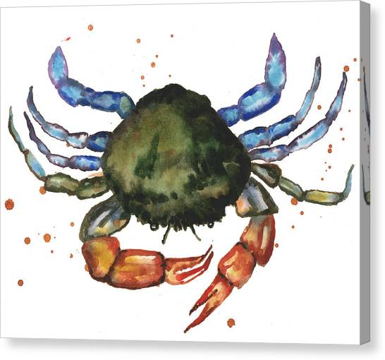 Beach House Canvas Print - Watercolor Crab Painting by Alison Fennell