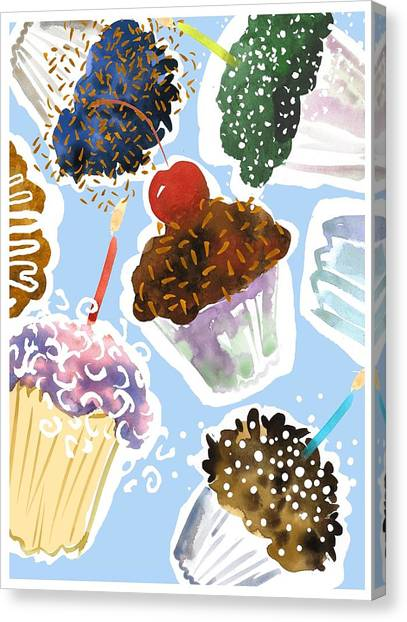 Birthday Canvas Print - Watercolor Cupcakes With Sprinkles by Gillham Studios