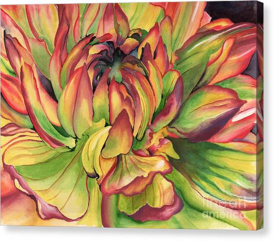 Watercolor Dahlia Canvas Print