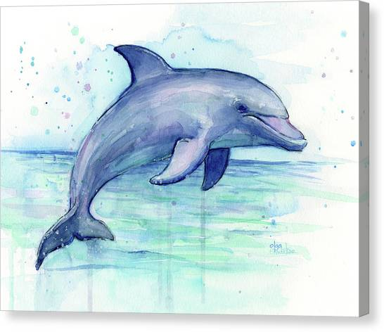 Ocean Animals Canvas Print - Watercolor Dolphin Painting - Facing Right by Olga Shvartsur