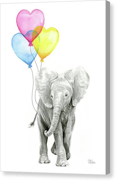 Happy Birthday Canvas Print - Watercolor Elephant With Heart Shaped Balloons by Olga Shvartsur
