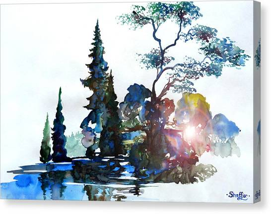 Watercolor Forest And Pond Canvas Print