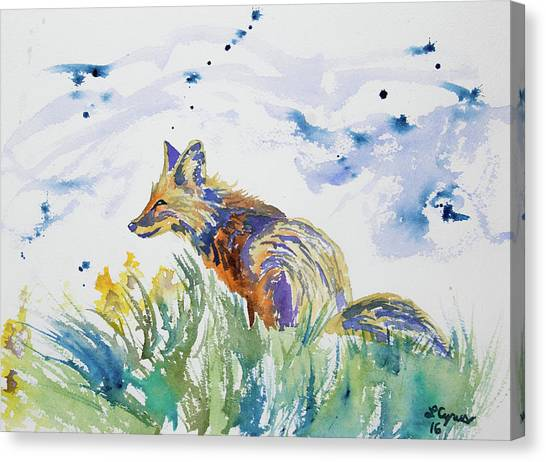 Watercolor - Fox On The Lookout Canvas Print