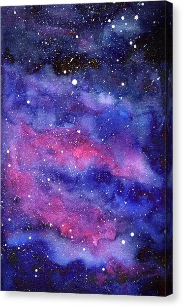 Constellations Canvas Print - Watercolor Galaxy Pink Nebula by Olga Shvartsur