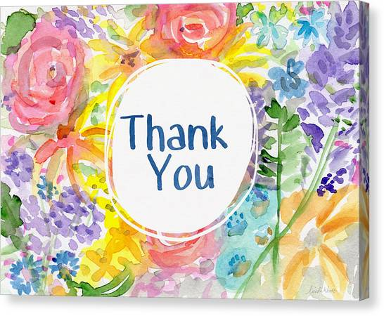 Thank Canvas Print - Watercolor Garden Thank You- Art By Linda Woods by Linda Woods