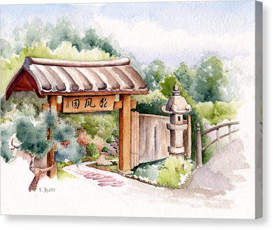 Watercolor Japanese Garden Gate Canvas Print