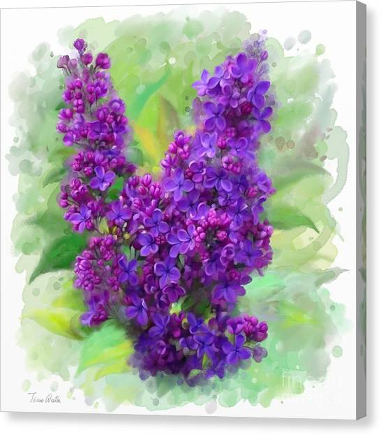 Canvas Print featuring the painting Watercolor Lilac by Ivana Westin