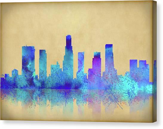 Canvas Print featuring the digital art Watercolor Los Angeles Skylines On An Old Paper by Georgeta Blanaru