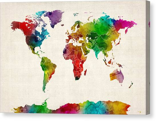 Country Canvas Print - Watercolor Map Of The World Map by Michael Tompsett