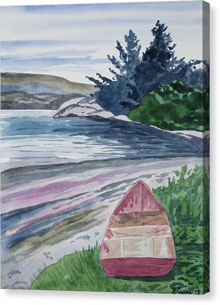 Watercolor - New Zealand Harbor Canvas Print