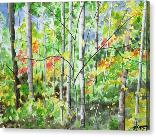 Watercolor - Northern Forest Canvas Print