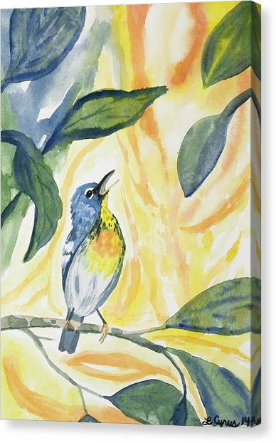 Watercolor - Northern Parula In Song Canvas Print