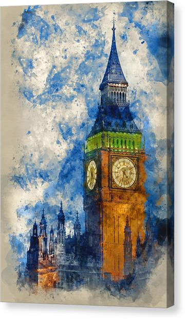 Kate Middleton Canvas Print - Watercolor Painting Of Big Ben At Twilight Witth Lights Making A by Matthew Gibson