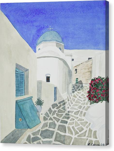 Watercolor - Paros Church And Street Scene Canvas Print