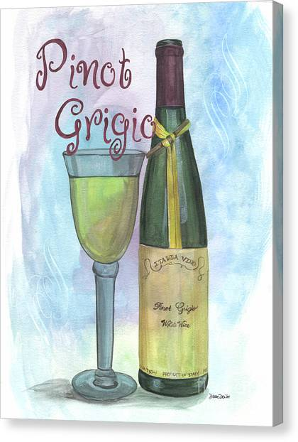 Winery Canvas Print - Watercolor Pinot Grigio by Debbie DeWitt