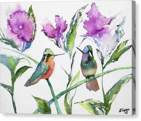 Watercolor - Purple-throated Mountain Gems And Flowers Canvas Print