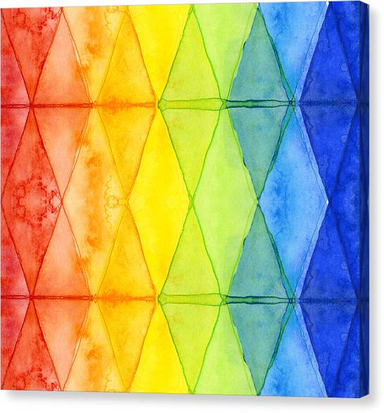 Rainbows Canvas Print - Watercolor Rainbow Pattern Geometric Shapes Triangles by Olga Shvartsur
