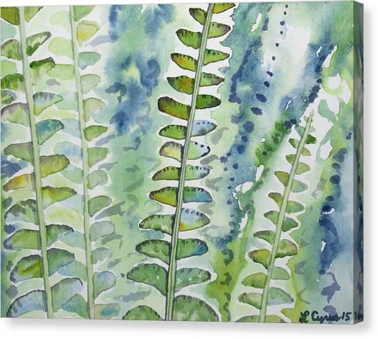 Watercolor - Rainforest Fern Impressions Canvas Print