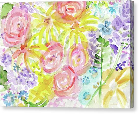 Daisy Canvas Print - Watercolor Rose Garden- Art By Linda Woods by Linda Woods