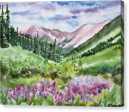 Watercolor - San Juans Mountain Landscape Canvas Print